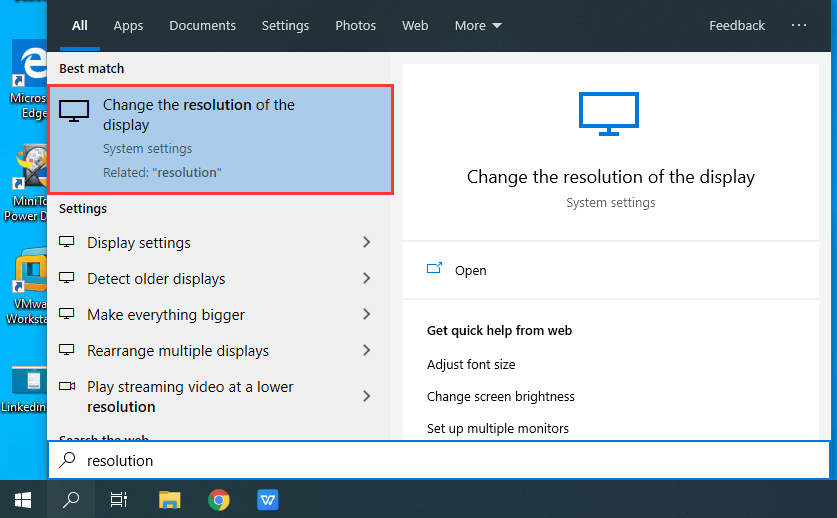 Change resolution and refresh rate