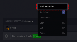 Press the option 'Mark as spoiler' to hide your message.
