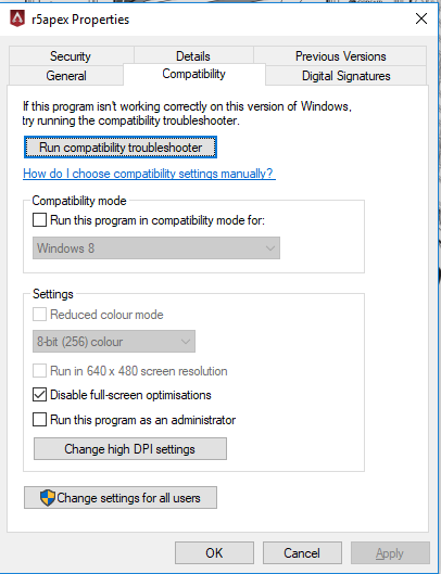 Run this program in the compatibility mode