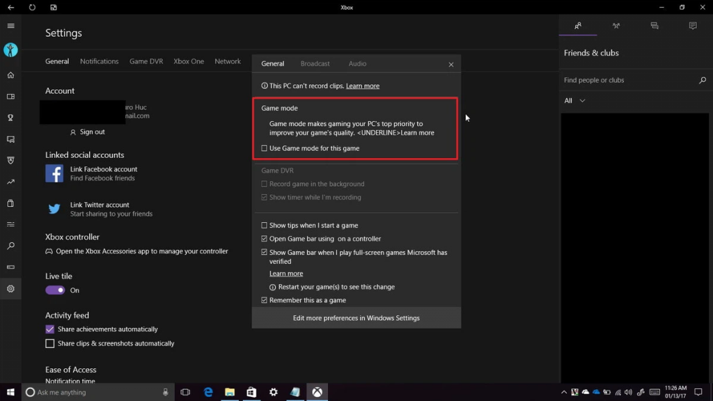 Use the game mode included in Windows 10